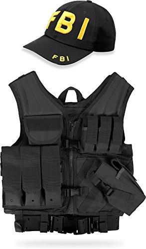 normani Taktische FBI Einsatz Weste mit Pistolenholster und FBI Cap Tactical ()
