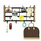 SRIWATANA DIY Eisen Gitter Memotafel Wanddeko Fotowand Wandorganizer Deko-Wandregal mit 5 Haken & 5 Holzklammern, 44×22cm Vintage
