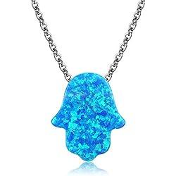 Kaletine Hamsa Main de Fatima Foulard Collier Pendentif en Argent Sterling avec Charme Opale Synthétique Bleu 11x13mm et Chaîne de Câble 40.6cm+5cm Extenseur