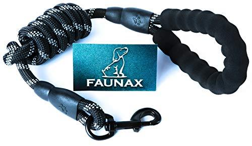 FaunaX 1.5M Hunde-Leine mit bequemen gepolsterten Griff,Kletterseil-Qualität mit Karabinerhaken,Reflexnähte,für mittlere bis große Hunde, passend zu jeden Hunde-Halsband und Hundegeschirr Zubehör-Hund -