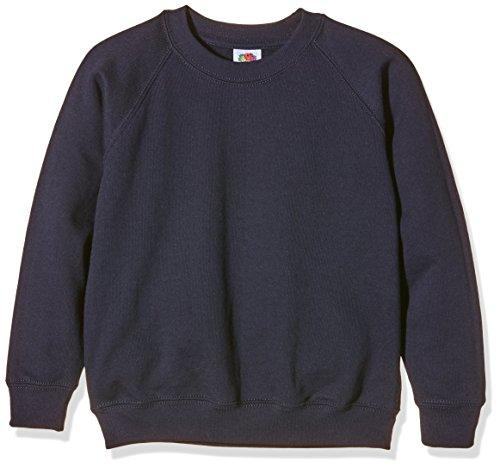 Fruit of the Loom Jungen Sweatshirt SS024B, Blau - Blue (Deep Navy) - 5-6 Years  (taille fabricant: 116cm/26) -