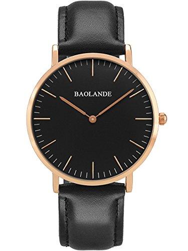 Alienwork-Classic-StMawes-Quarz-Armbanduhr-elegant-Quarzuhr-Uhr-modisch-Zeitloses-Design-klassisch-rose-gold-schwarz-Leder-U04814L-02