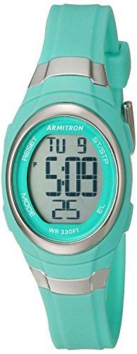 Armitron Sport 45/7034tel con cronógrafo Digital Mate Azul de la Mujer Correa de Resina Reloj