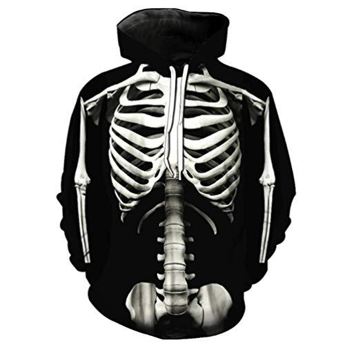 DeirCase Halloween-Kostüm-Sport Glow in the Dark Full Zip Up Hoodie Skeleton Mask 3D Digital Printing Versatile Pullover für Männer -