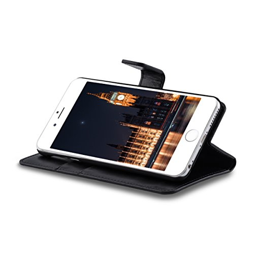 kwmobile Custodia portafoglio per Apple iPhone 6 Plus / 6S Plus - Cover a libro in simil pelle Flip Case con porta carte funzione appoggio nero .nero
