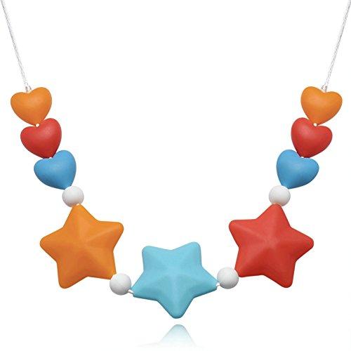 Epinki Mode Baby Kette Lebensmittelechtes Silikon Zahnen Anhänger Halskette Stern Design Bunte Chewelry Mama Kette 74cm