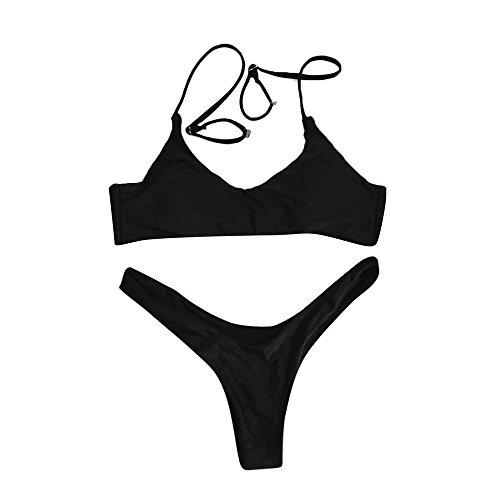 POIUDE Damen Bikini Sets Größe Bandage Bikini Push up Oberteil Bikinihose Bademode Badeanzüge(Schwarz, Large)
