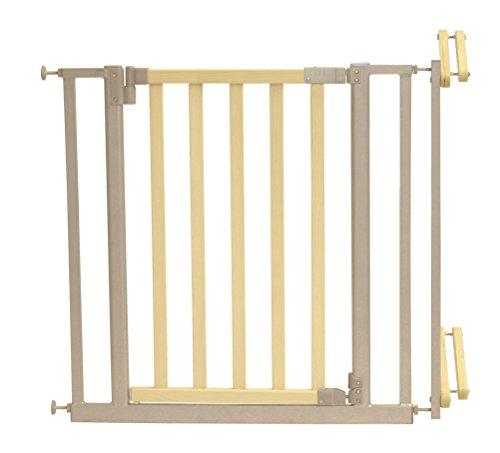 Roba 1548 - Treppenschutzgitter Metall/Holz, Verstellbreite 81-90 cm, Tür mit einem Handgriff zu...