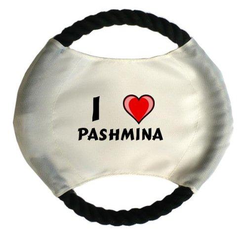 Personalisierter Hundefrisbee mit Aufschrift Ich liebe Pashmina (Vorname/Zuname/Spitzname)