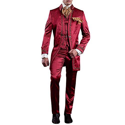 Judi Dench@ Costume Homme Hommes Parti Costume 3 pi¨¨ces veste+pantalon+gilet04 Rouge