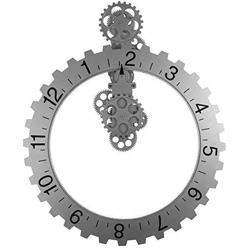 LOTOS Horloge - Horloge Murale Mécanique à Engrenages Dynamiques en Acier Inoxydable de 20\