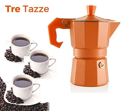Caffettiera COLORS FUN moka 3 tazze classica WELKHOME caffè espresso fatto in casa manico gommato. MEDIA WAVE store (Arancio)