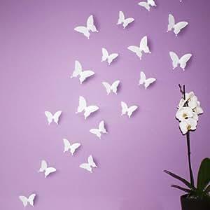 WANDKINGS 3D Schmetterlinge in WEIß zur Wanddekoration, 24 STÜCK im Set mit Klebepunkten zur Fixierung