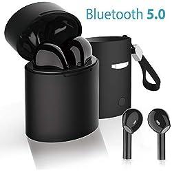 Écouteurs sans Fil, Casque Bluetooth V5.0 TWS Stéréo Écouteurs sans Fil Oreillette Mini Intra-Auriculaires Wireless Casque de Sport avec Boîte Rechargeable - Noir