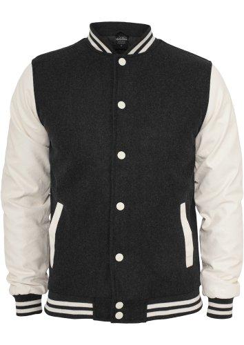 Urban Classics TB201 Old School College Jacket Man Slim Fit Charcoal White XL