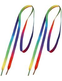 """TOOGOO(R) 2pzs Cordones de zapatos gruesos planos zapatillas deportivas de nylon colorido 45.3 """"Longitud"""