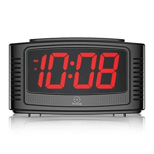 DreamSky LED Digitaler Wecker mit Große Ziffern Display, Lauter Alarm, Dimmer, Snooze, Einfache Bedienung, Tischuhr Netzbetrieben(Schwarz)