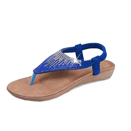 Ouneed® Damen Sandalen ,Sommer Bohemia Freizeit Dame Sandalen Peep-Toe Flip Flops Strand Schuhe Zehentrenner Blau