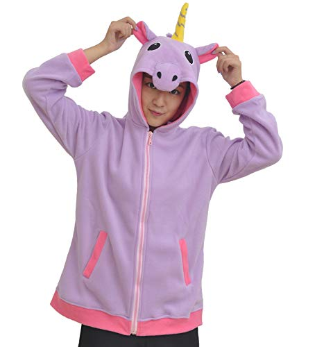 Sudaderas con Capucha Dibujos Animados Chaqueta Felpa Cosplay Disfraz Púrpura Unicornio Animal Unisex