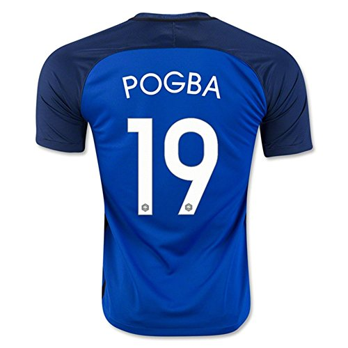 Preisvergleich Produktbild 2016UEFA-Euromeisterschaft Frankreich Nationalteam, 19Paul Pogba, Heimtrikot, Fußballtrikot in Blau Medium Blau - blau