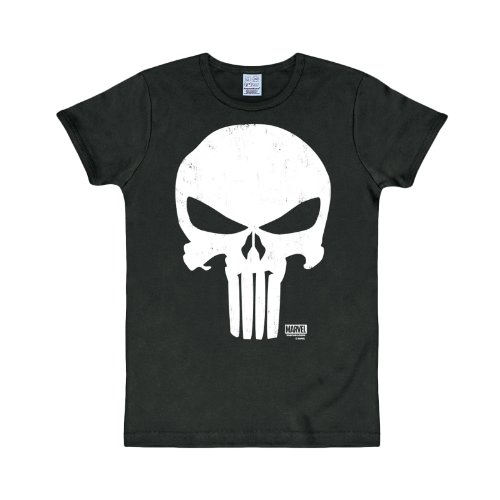 The Punisher - T shirt Marvel - Maglia con stampa frontale - Girocollo - Nero - XL