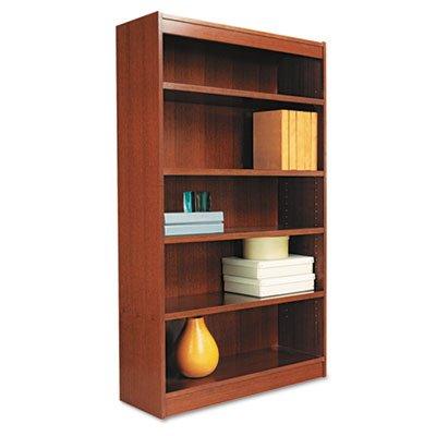 Square Corner Wood Veneer Bookcase, 5-Shelf, 35-3/8 x 11-3/4 x 60, Medium Cherry