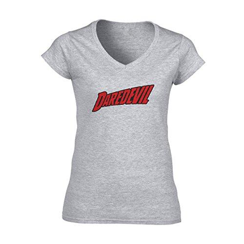 Daredevil Logo Eager Damen V-Neck T-Shirt Grau
