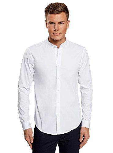 Oodji ultra uomo camicia in cotone con collo alla coreana, bianco, 38cm/it 42/eu 38/xs