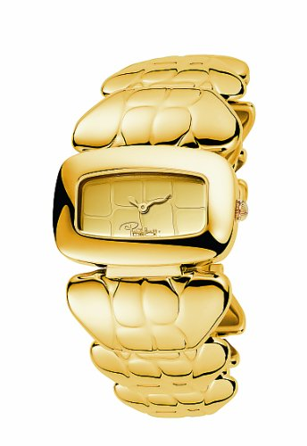 Roberto Cavalli Ladies Coco Analogue Watch R7253198017 with Quartz Movement, Stainless Steel Bracelet and Gold Dial