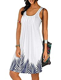 ccf0591aaf Happy Sailed Womens Casual Print Sleeveless High Neck Short Sundress