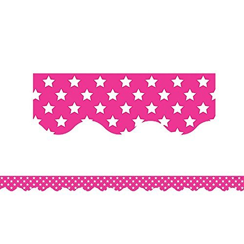 White Border Trim (Teacher Created Resources Pink with White Stars Scalloped Border Trim (5091) by Teacher Created Resources)