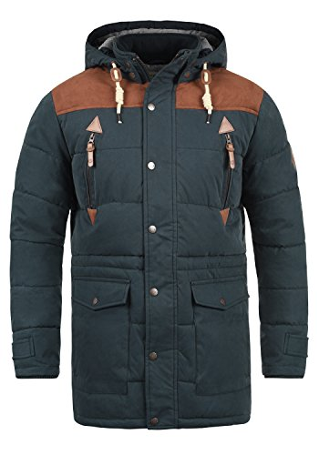 SOLID Dry Long Herren Winterjacke Jacke mit Stehkragen und abnehmbarer Kapuze aus hochwertiger Baumwollmischung, Größe:XXL, Farbe:Insignia Blue (1991) (Kapuze Abnehmbare)