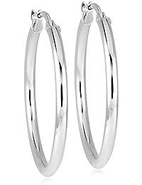 Bella Donna Unisex-Creolen 925 Silber rhodiniert - 8718OHR9