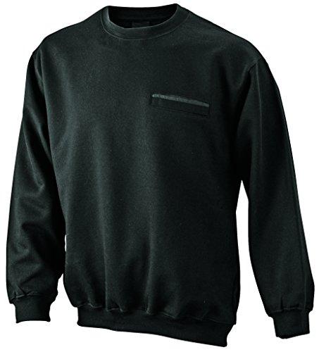 James & Nicholson Herren Round Sweat Pocket Sweatshirt Schwarz (Black)