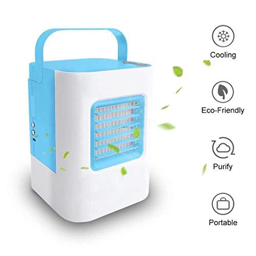 COLER Luftkühler, Mini-USB-Klimaanlagen-Kleinluftbefeuchterlüfter, 3 Geschwindigkeiten und LED-Atmungslicht mit tragbarem Griff für Büro, Zuhause, Outdoor,Black