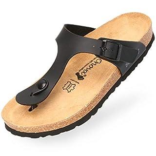 BOnova Damen Zehen-Trenner Ibiza in 14 Farben, stylische Pantolette mit Kork-Fußbett - Sandalen zum Wohlfühlen - hergestellt in der EU schwarz 38