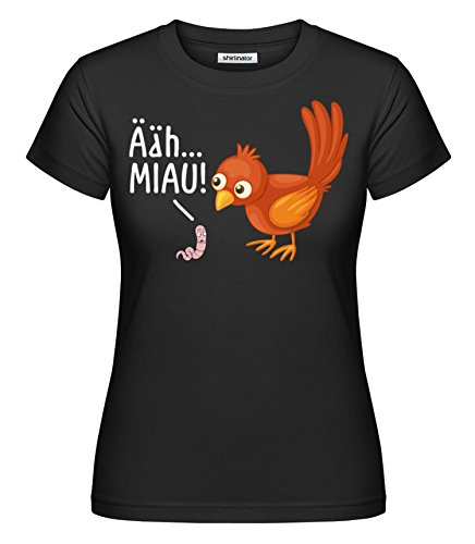 Shirtinator Lustiges T-Shirt mit Spruch für Frauen I ähhh MIAU Damen Katzen Shirt Geschenk Geburtstag I Original (Schwarz, XL)