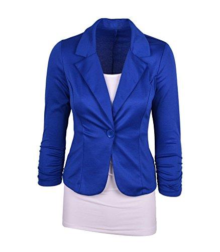 Bigood Femme Classique Costume Veste Couleur Uni Vogue Bouton Bleu