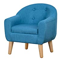 Babyland Single Linen Fabric Upholstered Kids Sofa Chair (Blue)