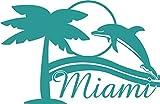 GRAZDesign 630320_40_054 Wandtattoo Wohnzimmer Miami Palmen Sonne Meer Strand Delfin Länder Welt (62x40cm//054 türkis)