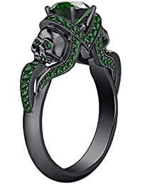 Silvernshine 1.52Ct Green Garnet CZ Diamond 14K Black Gold PL Weddding & Engagement Two Skull Ring