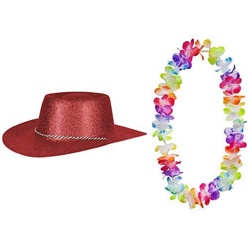 2er Set - Cowboy Hut Dunkelrot Glitzer und Hawaii Kette Fasching Masken Perücke Maske Blumenkette Pastellfarben Sheriff Texas