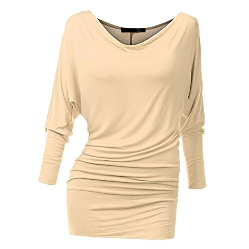 Yuxin Manica Lunga Camicetta per Donna - Moda Tinta Unita Slim Fit Camicia Elegante Scollo a V Primavera e Autunno Casual Shirts Tops Cachi