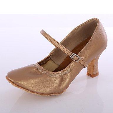Silence @ Chaussures de danse pour femme en similicuir piste de danse latine talons Talon Intérieur Noir/marron/blanc/argenté marron