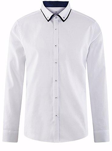oodji Ultra Herren Tailliertes Hemd mit Kontrastbesatz Weiß (1000B)