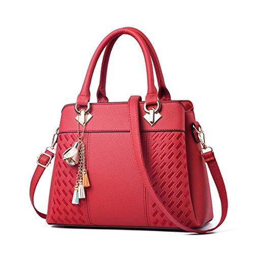 Damen Fashion Handtaschen Handtasche Tragegriff Schultertasche Business Party Gr. One size, rot (Halloween Schreiben Für Aktivitäten)