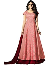 Pink & Maroon Bangalory Silk Embroidered Long Anarkali Suit