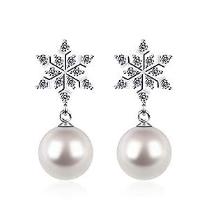 D.Perlla Damen Ohrringe Schneeflocke mit weißen natürlichen Perlen 925 Sterling Silber für modische Frauen, beste Geschenkidee für Mädchen
