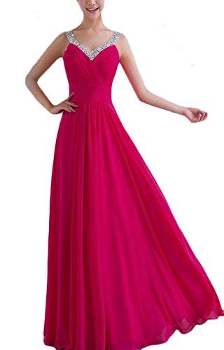 YOGLY Damen Elegant Neckholder ALinie VAusschnitt Maxikleid Abendkleid  Chiffonkleid Cocktailkleid Pink