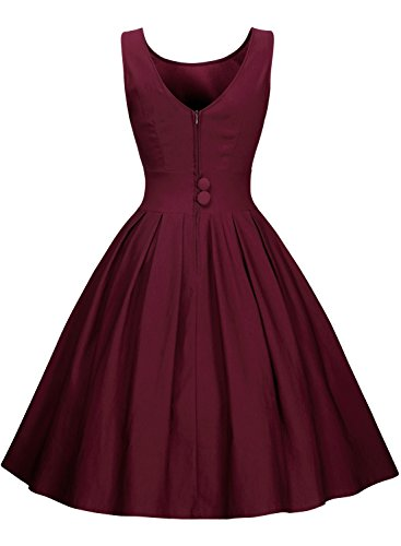 Miusol Damen Elegant Rundhals Traegerkleid 1950er Retro Cocktailkleid Faltenrock Kleid weinrot Groesse S -